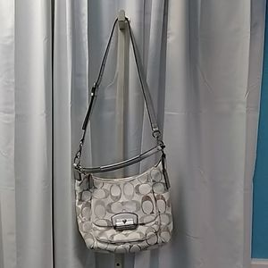 NWOT Coach white tan logo shoulder bag